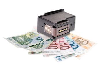 Druckerpatrone und Geldscheine - Recycling