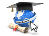 E-learning. Globe, diploma and mortar board.