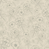 Seamless pattern of flowers, gray on brown