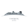 Limerick Ireland city skyline silhouette white background
