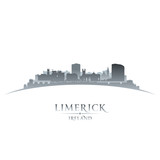 Limerick Ireland city skyline silhouette white background
