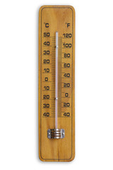 Wooden retro thermometer isolated over white