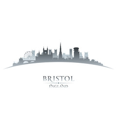Bristol England city skyline silhouette white background