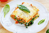 Lasagna with meat and spinach