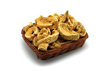 Pork rinds isolated on white background