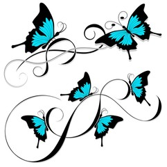 butterfly tattoo black blue