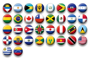Vector Set of buttons flags of America