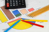 Financial accounting calculator chart with color pencil scene - 60426169