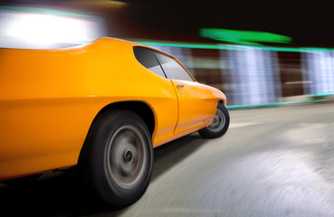 Dynamic shot of a Muscle Car.