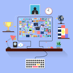 Flat design illustration  office interior with  desktop  applica