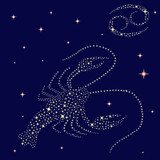 Zodiac sign Cancer on the starry sky