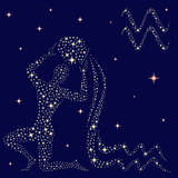 Zodiac sign Aquarius on the starry sky