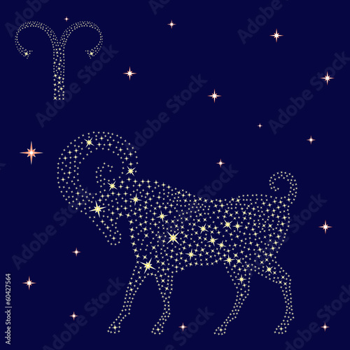 Zodiac sign Aries on the starry sky
