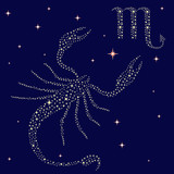 Zodiac sign Scorpio on the starry sky