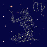 Zodiac sign Virgo on the starry sky
