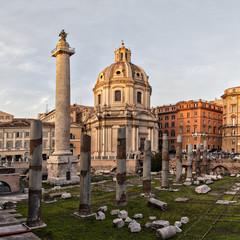 Sun setting on Trajans column Rome
