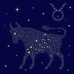 Zodiac sign Taurus on the starry sky