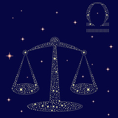 Zodiac sign Libra on the starry sky