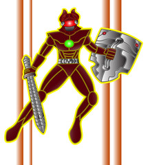 Robot Fighter armed with sword and shield