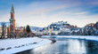 Historic city of Salzburg with river Salzach in winter, Austria