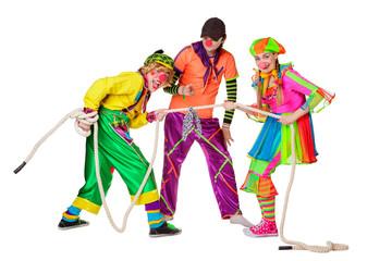 Three smiling clowns