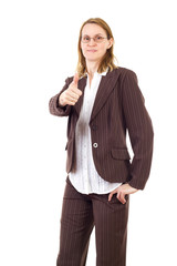 Smiling businesswoman showing thumb up