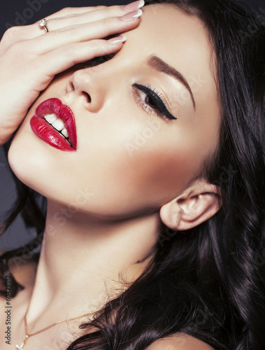 portrait of beautiful girl with dark hair