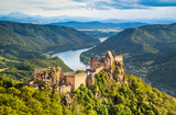 Landscape with old castle and Danube river in Wachau, Austria