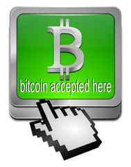 Bitcoin accepted here Button mit Cursor