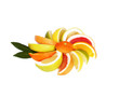 Spalten von Zitrusfrüchten auf weiss