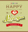 Happy Valentine message banner design on recycled  paper