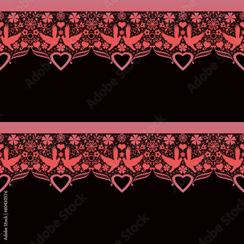 Seamless lace lacy pattern on black