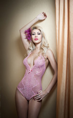 Beautiful and sexy blonde young woman wearing pink corset posing