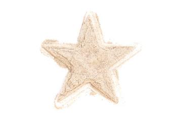 Heap ground White Pepper isolated in star shape on white backgro