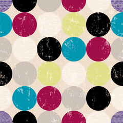 seamless pattern background, retro/vintage style, with circles
