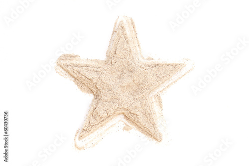 Heap ground White Pepper isolated in star shape on white backgro