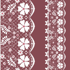 White seamless lace lacy pattern on brown