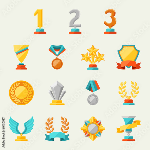 Trophy and awards icons set. - 60430937