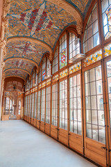Corridon inside Sant Pau Hospital in Barcelona