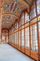 Corridon inside Sant Pau Hospital in Barcelona