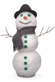 Fototapety White snowman whith scarf and felt hat. (Clipping path)