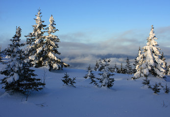 "Winter mountains. South Ural, backbone of ""Taganay"", Russia."