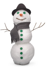 White snowman whith scarf and felt hat. (Clipping path)