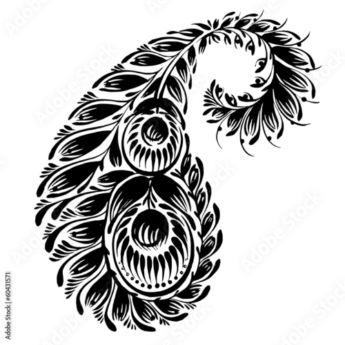 decorative silhouette of a floral paisley