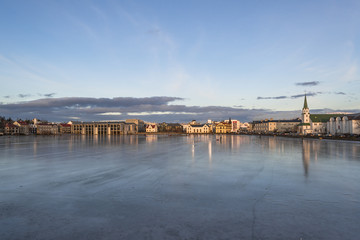 View of frozen lake Tjornin in Reykjavik , Iceland