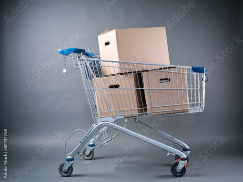 Shopping Cart with Moving Boxes