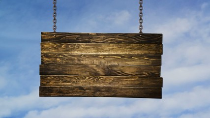 Wooden signpost hanging on chains over white clouds timelapse
