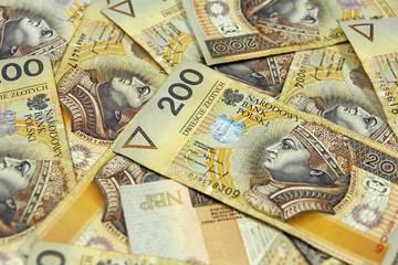 selective focus on polish banknotes