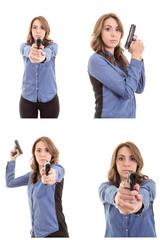 Woman Posing With gun set