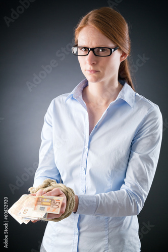 Woman Tied Up to Cash Money